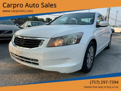 2009 Honda Accord for sale at Carpro Auto Sales in Chesapeake VA