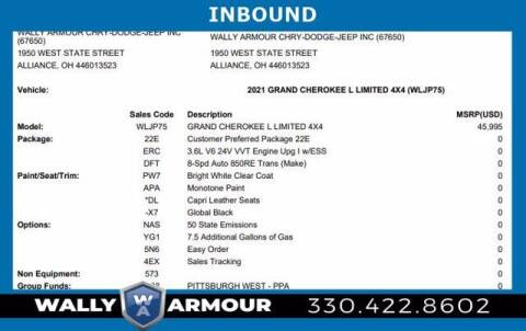 2021 Jeep Grand Cherokee L for sale at Wally Armour Chrysler Dodge Jeep Ram in Alliance OH