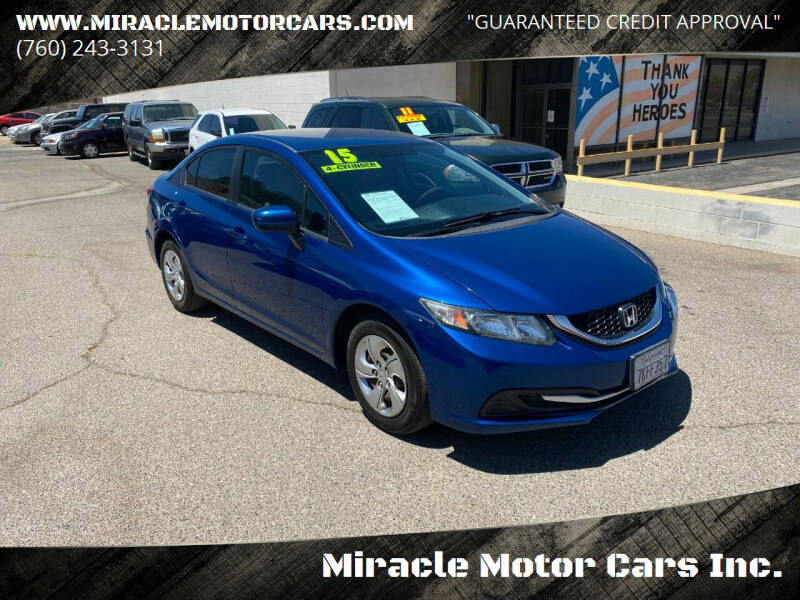 2015 Honda Civic for sale at Miracle Motor Cars Inc. in Victorville CA
