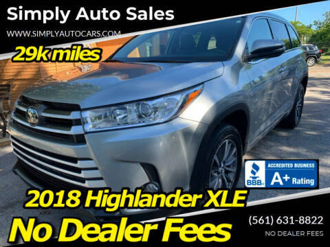 2018 Toyota Highlander for sale at Simply Auto Sales in Palm Beach Gardens FL