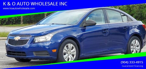 2012 Chevrolet Cruze for sale at K & O AUTO WHOLESALE INC in Jacksonville FL