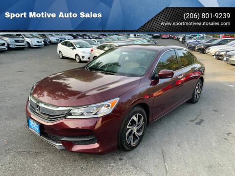 2016 Honda Accord for sale at Sport Motive Auto Sales in Seattle WA