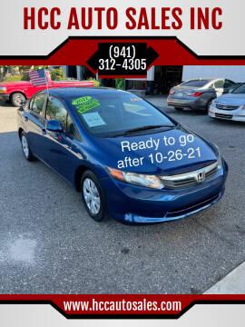 2012 Honda Civic for sale at HCC AUTO SALES INC in Sarasota FL