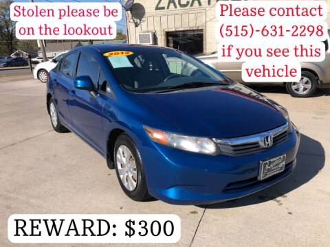 2012 Honda Civic for sale at Zacatecas Motors Corp in Des Moines IA