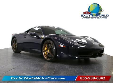 2011 Ferrari 458 Italia for sale at Exotic World Motor Cars in Addison TX