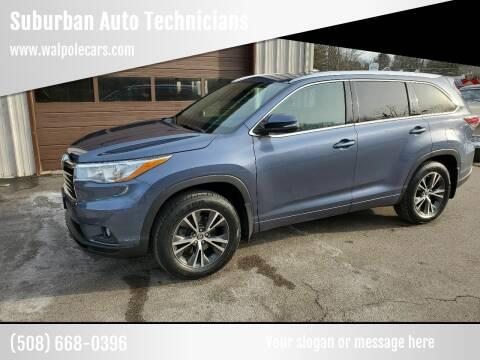 2016 Toyota Highlander for sale at Suburban Auto Technicians LLC in Walpole MA