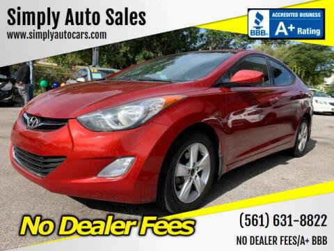 2013 Hyundai Elantra for sale at Simply Auto Sales in Palm Beach Gardens FL