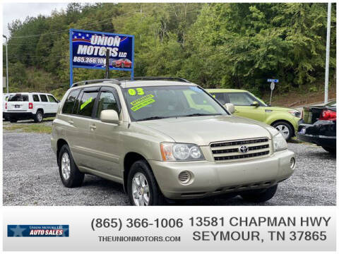 2003 Toyota Highlander for sale at Union Motors in Seymour TN