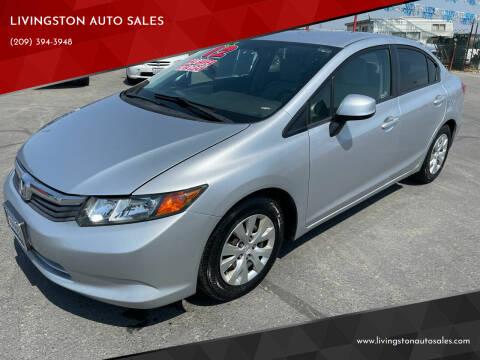 2012 Honda Civic for sale at LIVINGSTON AUTO SALES in Livingston CA
