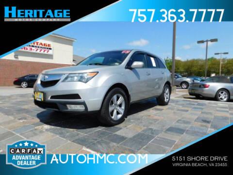 2012 Acura MDX for sale at Heritage Motor Company in Virginia Beach VA