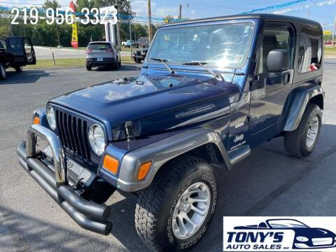 2004 Jeep Wrangler for sale at Tonys Auto Sales Inc in Wheatfield IN