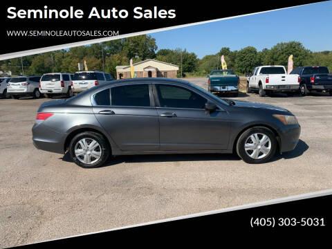 2008 Honda Accord for sale at Seminole Auto Sales in Seminole OK