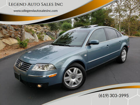 2003 Volkswagen Passat for sale at Legend Auto Sales Inc in Lemon Grove CA