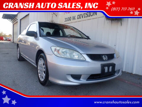 2005 Honda Civic for sale at CRANSH AUTO SALES, INC in Arlington TX