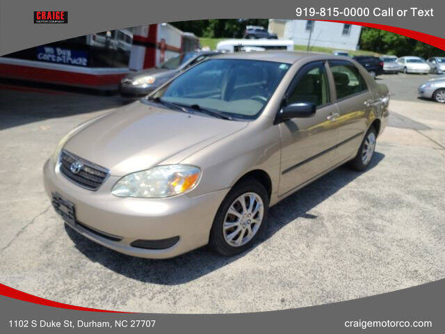 2007 Toyota Corolla for sale at CRAIGE MOTOR CO in Durham NC