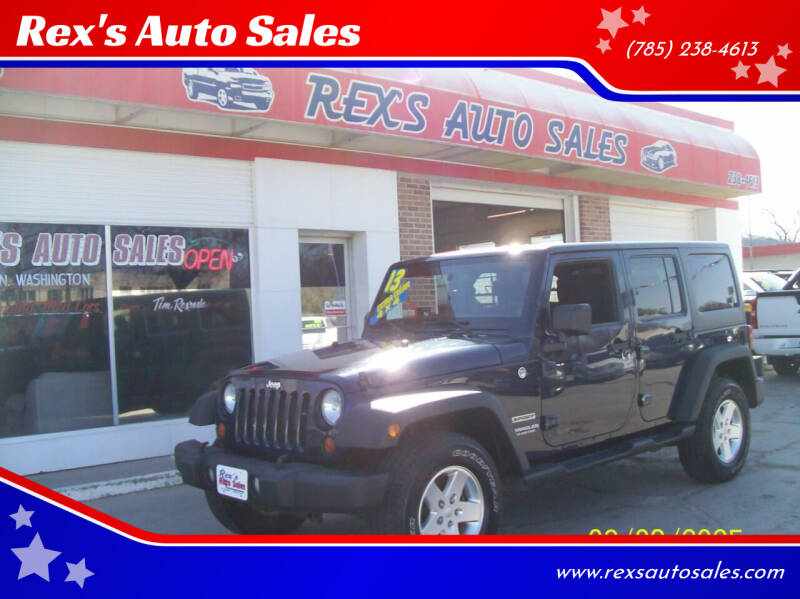 2013 Jeep Wrangler Unlimited for sale at Rex's Auto Sales in Junction City KS