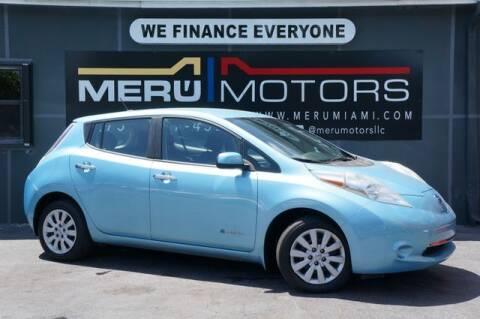 2015 Nissan LEAF for sale at Meru Motors in Hollywood FL