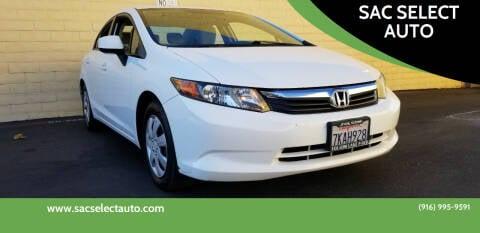 2012 Honda Civic for sale at SAC SELECT AUTO in Sacramento CA