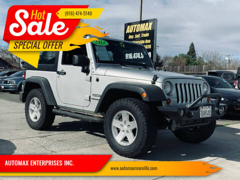 2011 Jeep Wrangler for sale at AUTOMAX ENTERPRISES INC. in Roseville CA