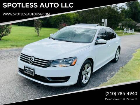 2013 Volkswagen Passat for sale at SPOTLESS AUTO LLC in San Antonio TX