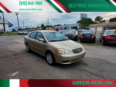2004 Toyota Corolla for sale at Green Ride Inc in Nashville TN