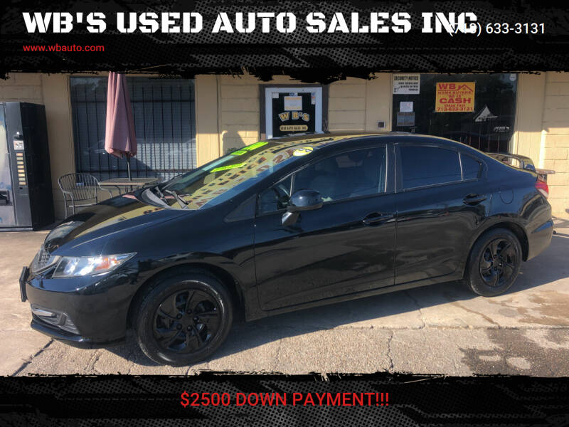 2014 Honda Civic for sale at WB'S USED AUTO SALES INC in Houston TX