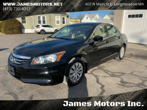 2012 Honda Accord for sale at James Motors Inc. in East Longmeadow MA
