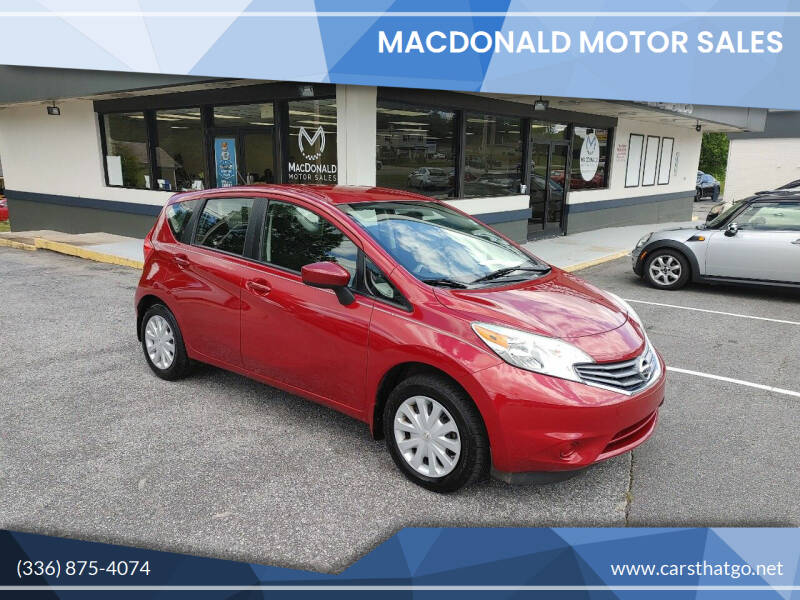 2015 Nissan Versa Note for sale at MacDonald Motor Sales in High Point NC