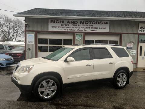 2010 GMC Acadia for sale at Richland Motors in Cleveland OH