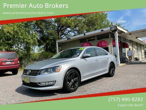2013 Volkswagen Passat for sale at Premier Auto Brokers in Virginia Beach VA