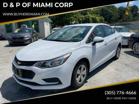 2017 Chevrolet Cruze for sale at D & P OF MIAMI CORP in Miami FL