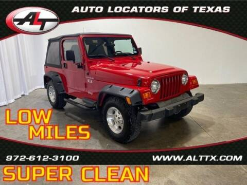 2002 Jeep Wrangler for sale at AUTO LOCATORS OF TEXAS in Plano TX