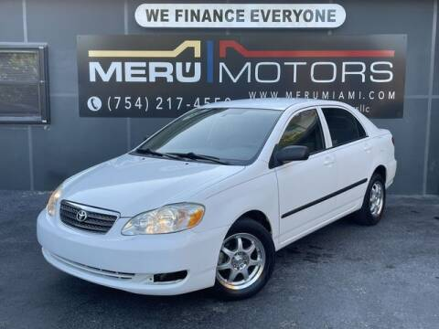 2007 Toyota Corolla for sale at Meru Motors in Hollywood FL