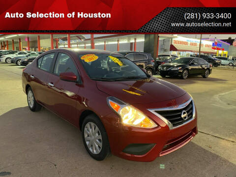 2017 Nissan Versa for sale at Auto Selection of Houston in Houston TX