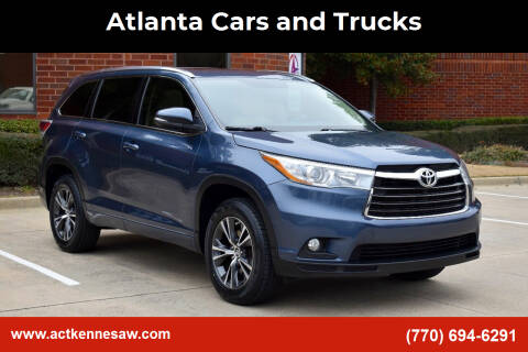 2016 Toyota Highlander for sale at Atlanta Cars and Trucks in Kennesaw GA