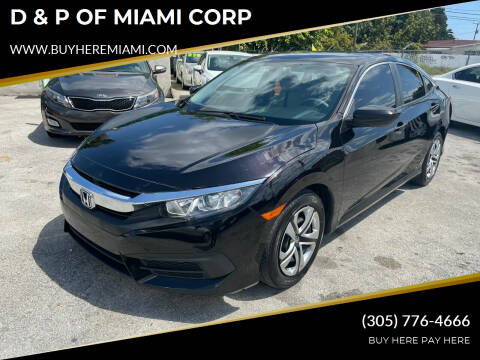2017 Honda Civic for sale at D & P OF MIAMI CORP in Miami FL