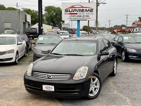 2004 Infiniti G35 for sale at Supreme Auto Sales in Chesapeake VA