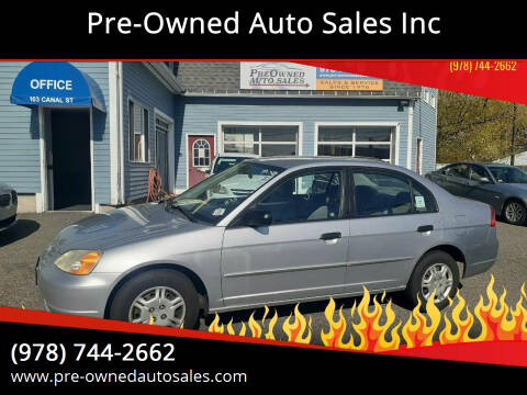 2001 Honda Civic for sale at Pre-Owned Auto Sales Inc in Salem MA