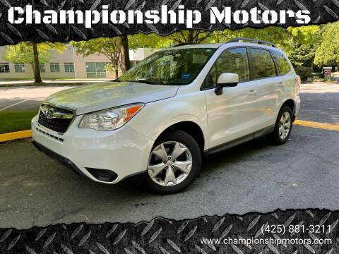 2014 Subaru Forester for sale at Championship Motors in Redmond WA
