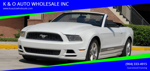 2013 Ford Mustang for sale at K & O AUTO WHOLESALE INC in Jacksonville FL