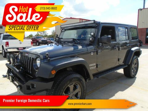 2017 Jeep Wrangler Unlimited for sale at Premier Foreign Domestic Cars in Houston TX