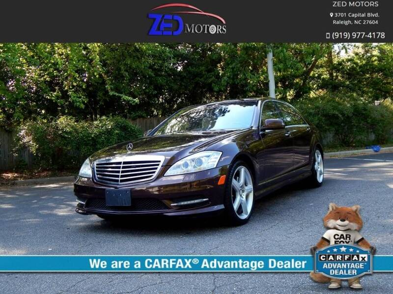 2013 Mercedes-Benz S-Class for sale at Zed Motors in Raleigh NC