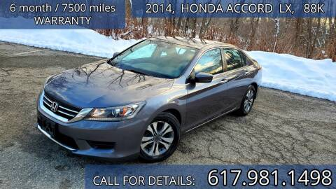 2014 Honda Accord for sale at Wheeler Dealer Inc. in Acton MA