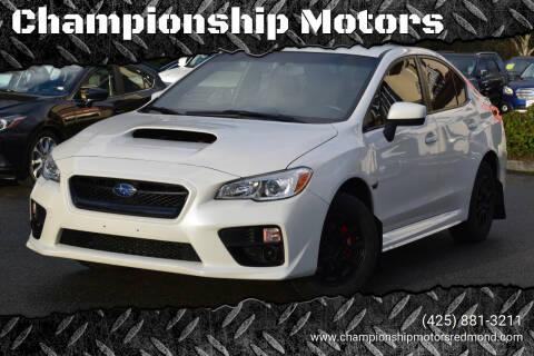 2016 Subaru WRX for sale at Championship Motors in Redmond WA