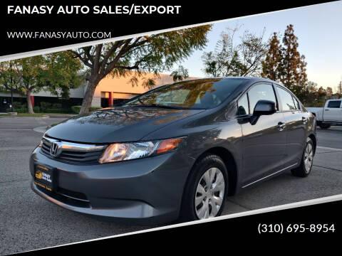 2012 Honda Civic for sale at FANASY AUTO SALES/EXPORT in Yorba Linda CA