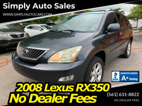 2008 Lexus RX 350 for sale at Simply Auto Sales in Palm Beach Gardens FL