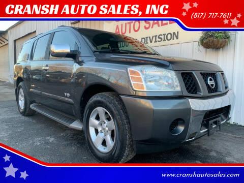 2005 Nissan Armada for sale at CRANSH AUTO SALES, INC in Arlington TX