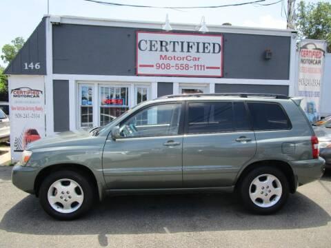 2005 Toyota Highlander for sale at CERTIFIED MOTORCAR LLC in Roselle Park NJ