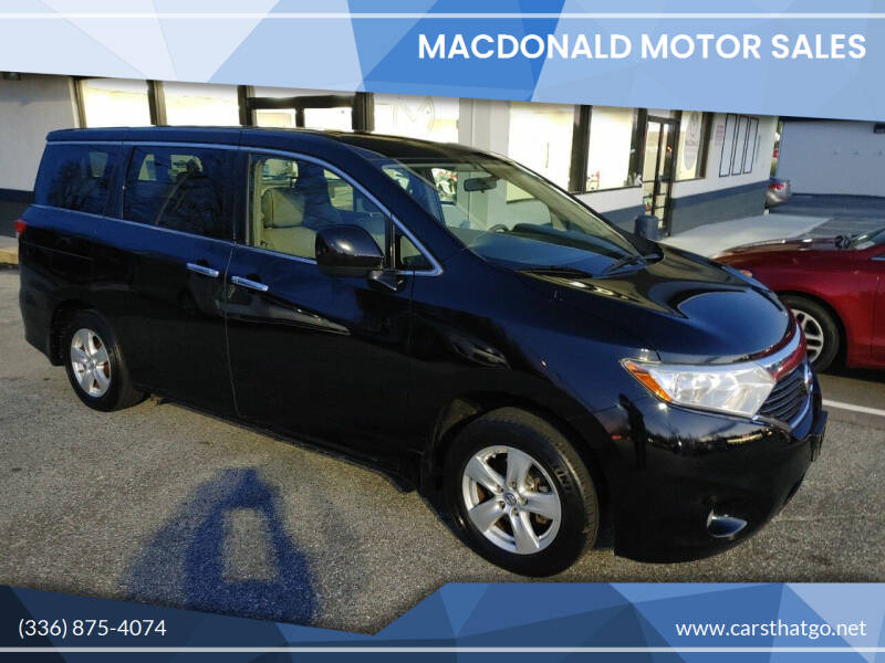 2014 Nissan Quest for sale at MacDonald Motor Sales in High Point NC