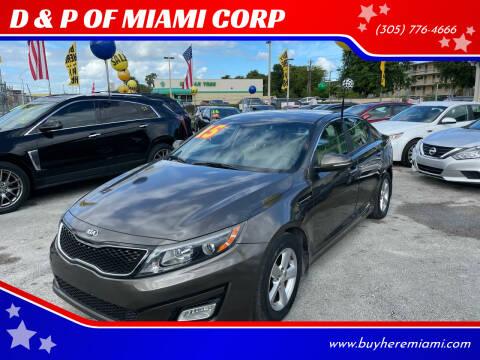 2015 Kia Optima for sale at D & P OF MIAMI CORP in Miami FL